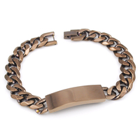 Wholesale Jewelry 22 5cm 12 5mm Brown Stainless Steel Chain Mens Curb Cuban Rombo ID Bracelets