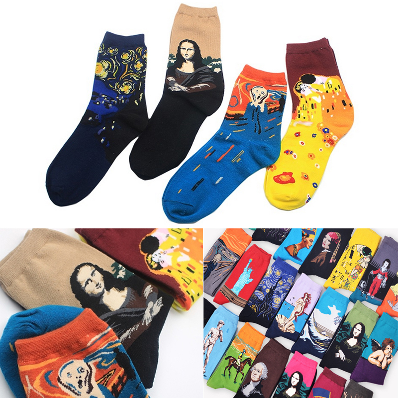 New Personality Cotton Oil Painting World Famous Painting Art Retro Series Socks