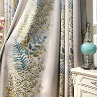 Euro Jacquard Half Blackout Curtains Living Room Plants Printed Window Curtains Bedroom Luxury Cortina Kitchen Curtains