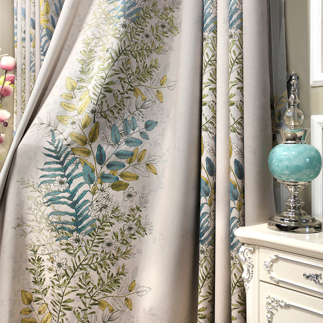 Euro Jacquard Half Blackout Curtains Living Room Plants Printed ...