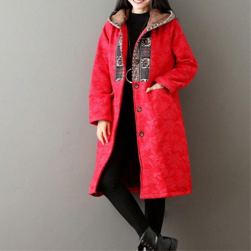 Slim Red Manteau Long 9082 Style Hiver Épaisse Parkas Neige Chaud Femmes Capuche Outwear Ouatée National Coton Rembourré Veste FttTqXw
