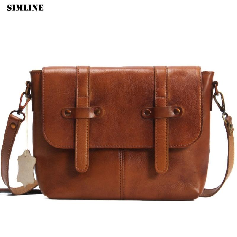 Brand Designer Vintage Genuine Leather Messenger Bag Women Vegetable Tanned Cowhide Shoulder Crossbody Bags Handbag For Ladies