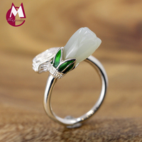 Original Design Natural White Jade Ring 100% 925 Sterling Silver Rings For Women Chinese Style Magnolia Flower Fine Jewelry SR01