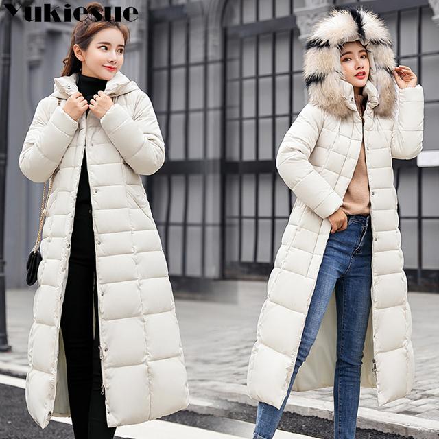 Long warm thicken winter jacket women snow wear cotton padded outerwear for women womens coat plus size faux fur collar parka