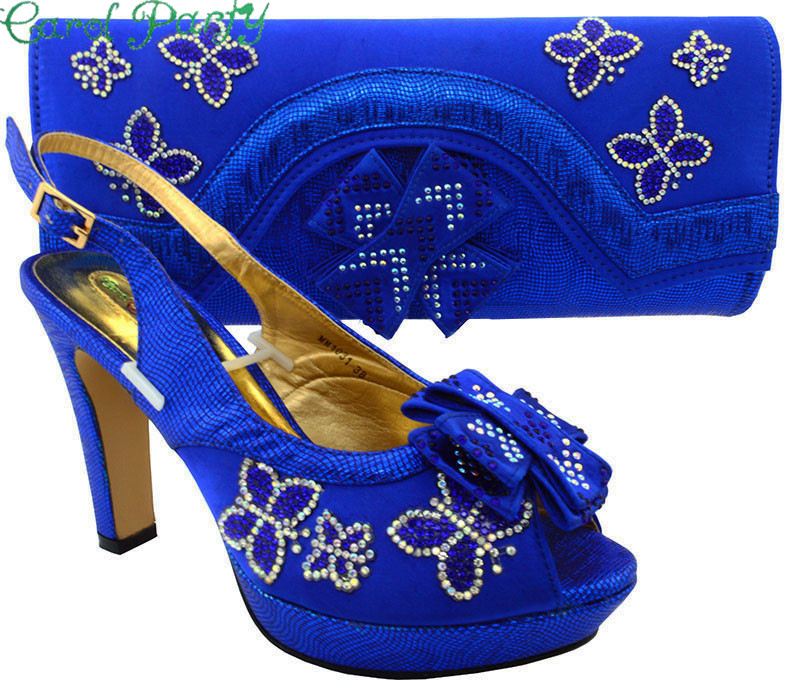 Ladies Italian Design Style Shoes and Bag Set Royal blue Shoes with Matching Bags High Quality African Shoes and Bag Set MM1031 free shipping newest shoes matching bags royal blue italian designer shoes and bags ct16 06