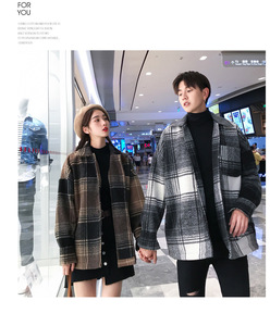 Image 5 - Mens and womens fashion coat in autumn loose  medium long checked woolen coat.