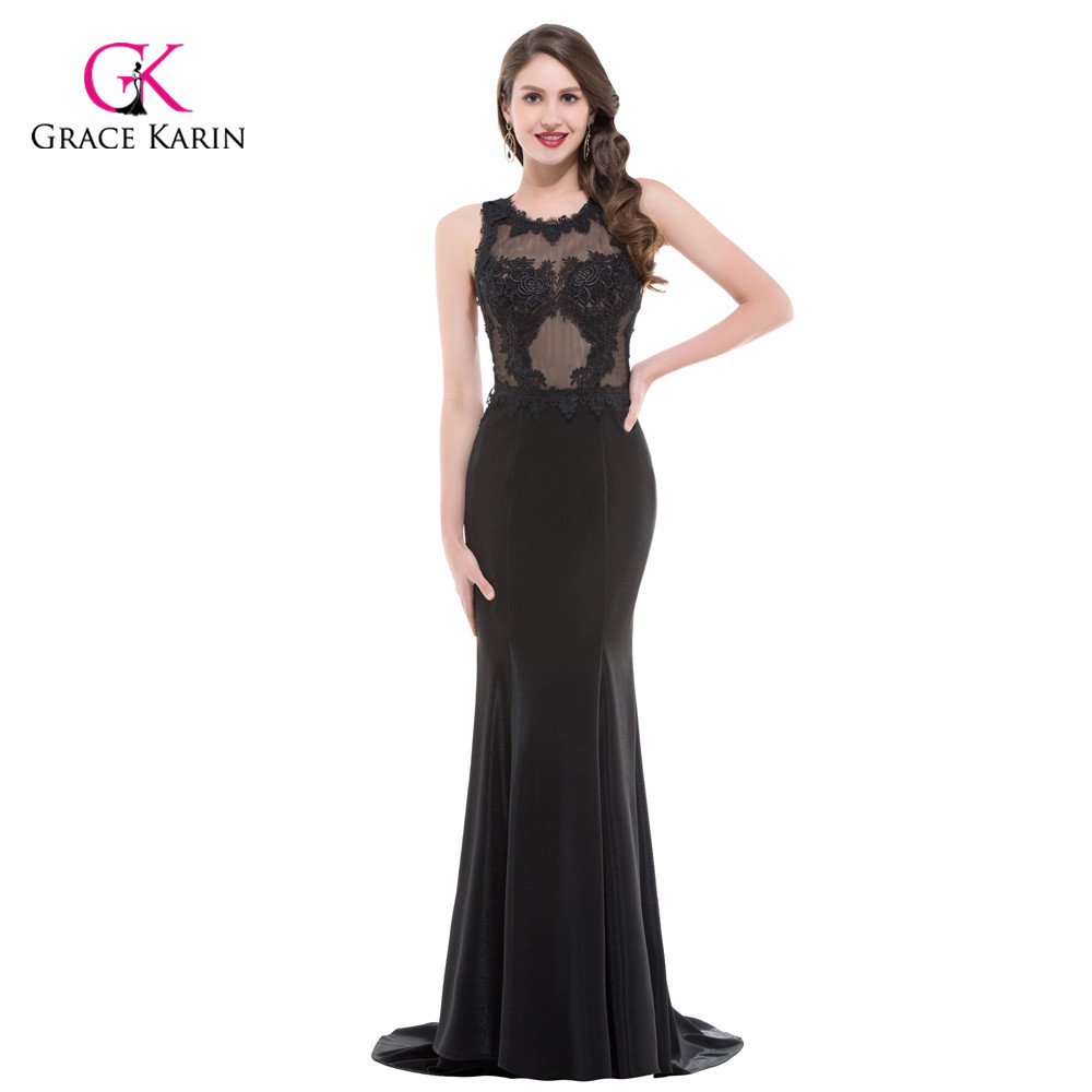 Luxury Mermaid Evening Dresses Grace Karin Black sequins beaded 2018 ...