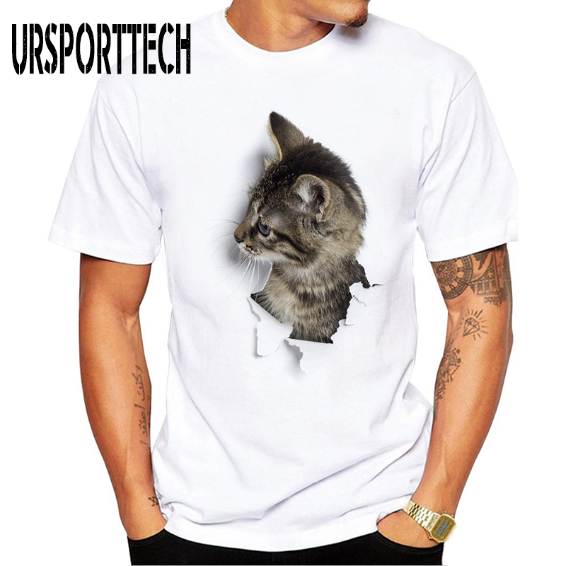 URSPORTTECH Funny Tshirt Men Fashion Printed Cute Cat T Shirts Short Sleeve O Neck Tee Shirts Streetwear Male Tee Tops Plus Size in T Shirts from Men 39 s Clothing