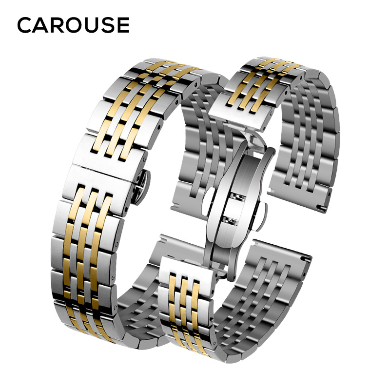 Image 4 - Carouse Stainless Steel Metal Watchband Bracelet 12mm 14mm 16mm 18mm 20mm 22mm Watch Band Wrist Strap Black Silver Rose Gold-in Watchbands from Watches