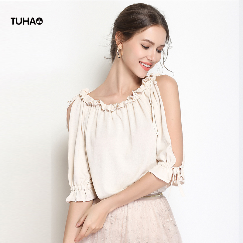 TUHAO Ruffled Collar Summer Pullover Womens Kinitted Blouse Split Leak Shoulder Sweater Shirt Solid Casual Outerwear TS1666