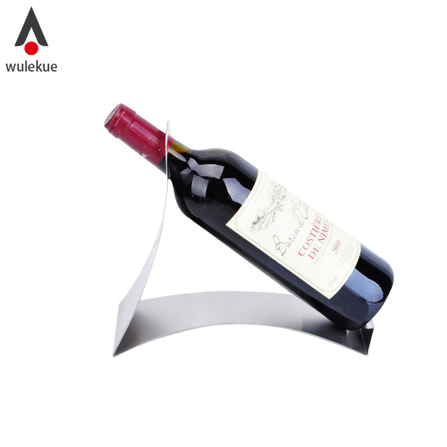 Wulekue 1pcs Stainless Steel Simple Wine Holder Display Rack Single Bottle Bar Home Accessories