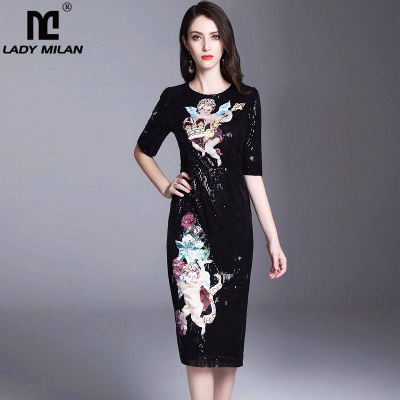 Lady Milan Womens O Neck Half Sleeves Appliques Sequined Fashion Casual Dresses Designer Runway Dresses