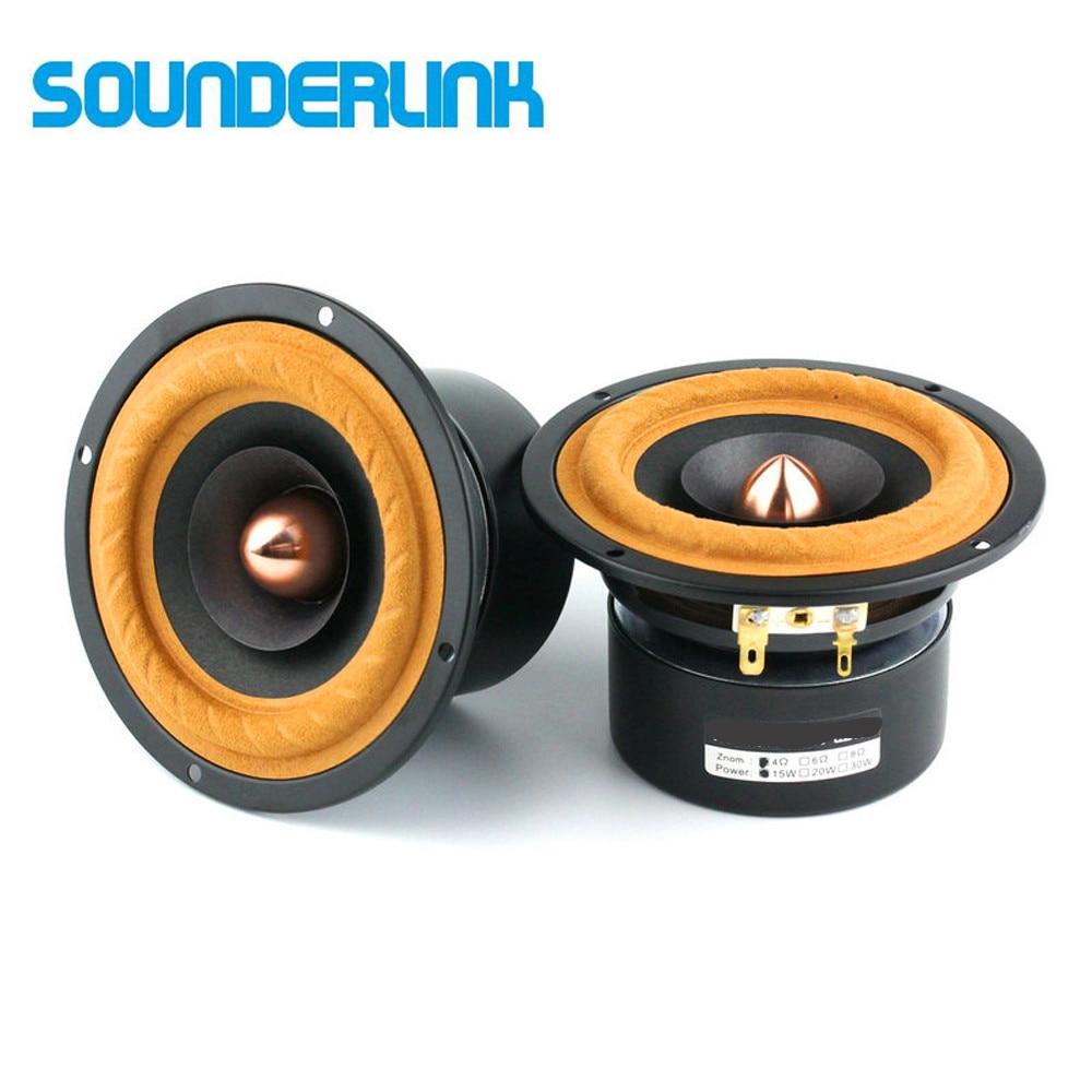 цена на Sounderlink 2pcs/lot Top end 4'' Full Range Speaker tweeter unit sets Aluminum Bullet 2 Layer Paper Cone DIY home theater
