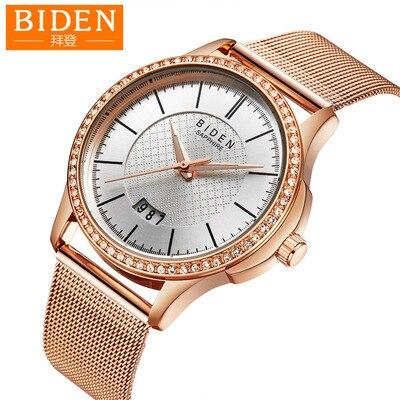 Biden Womens Mens Love Wristwatches Stainless Steel Quartz Woman Man Mesh Belt Watches Blue Rose Gold Silver Waterproof Calendar