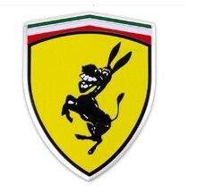 цена на 1pcs Aluminum Creative Funny Humor Spoof Kuso Prank Sticker for Ferrari Donkey Logo Emblem Badge Metal Car Styling Sticker Decal