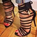 Женщины Высокий Каблук Сандалии 2017 Лета женская Мода Черный Высокой каблук Сандалии Обувь Девушку Туфли Женщины большой размер ЕС 34-43
