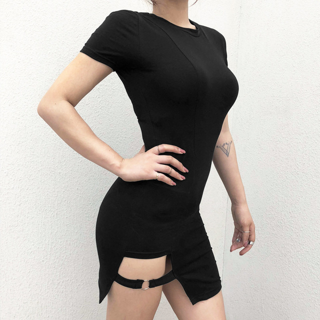 Black Harajuku Dresses Women Summer Short Sleeve Sexy Hollow Out Asymmetrical Metal Ring Slim Mini Dress Gothic Girls 1
