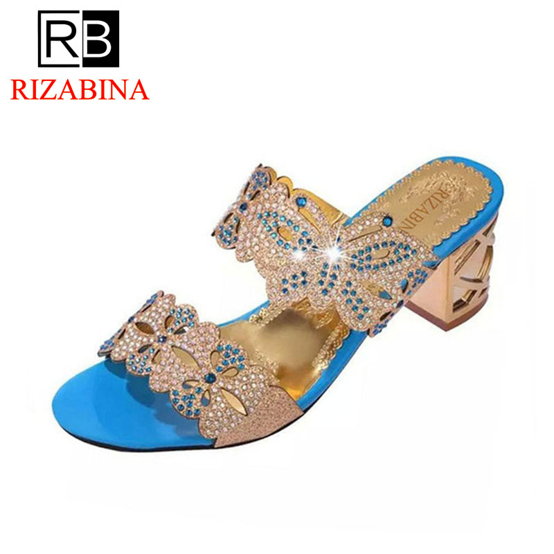 RizaBina 5 Colors Women Summer High Heel Sandals Beading Flower Butterfly Open Toe Gold Heel Slippers Summer Shoes Size 35-41 europe america style summer slippers women thin high heel pointed toe pearl fashion denim sandals shoes size 35 40 sxq0709