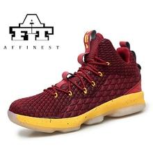 8334dbd7b AFFINEST حذاء كرة السلة الرجال رياضية أحذية ليبرون جيمس الرياضية عالية أعلى  حذاء كاحل برباط وسادة