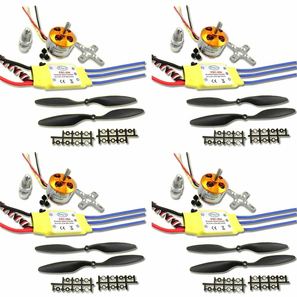 4 Set A2212 <font><b>1000KV</b></font> Brushless <font><b>Motor</b></font> With 30A Brushless ESC and 1 Pair 1045 CW CCW Propeller For RC Multi-Copter Quadcopter FPV image