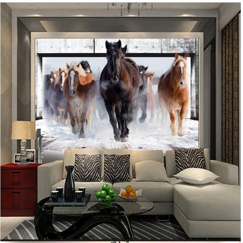 Sofa 2 Meter Beibehang Horse Racing Custom Photo Wallpaper Retro Sofa