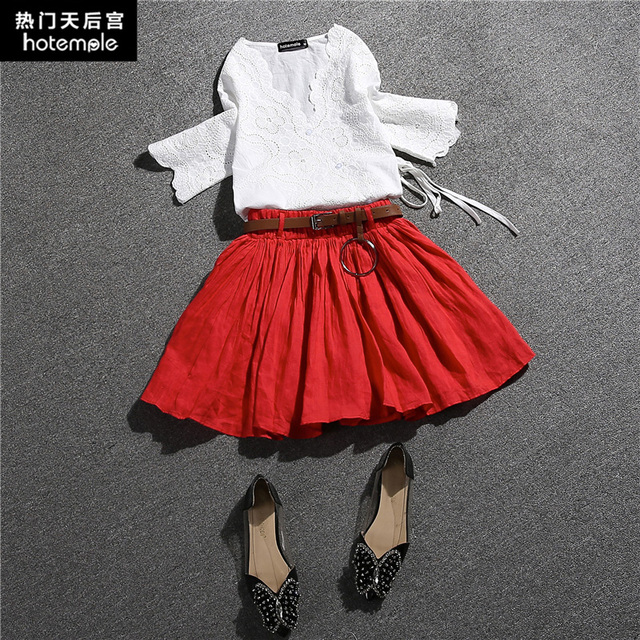 7688636d4e 2017 Women s Fashion Design Two Pieces Set Hollow Top And Pleated Skirt  Suits Female Summer Daily Clothes Linen Costumes Kits