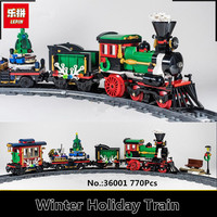 在庫lepin 36001 770ピースクリエイティブシリーズはクリスマス冬ホリデー列車セット子供教育ビルディングブロックレン