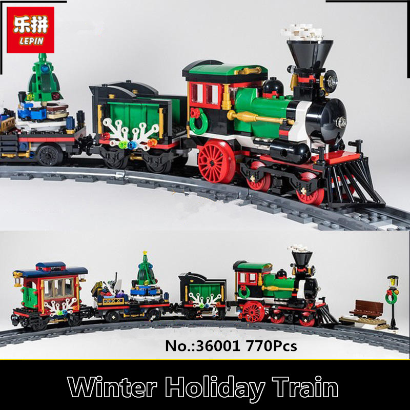 IN STOCK Lepin 36001 770Pcs Creative Series The Christmas Winter Holiday Train Set Children Educational Building Blocks Bricks clone 10254 lepin 36001 creative series the christmas winter holiday train set children building blocks bricks christmas gifts