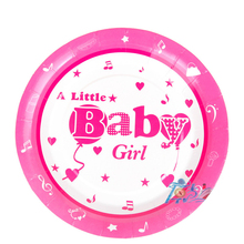 7inch diameter 18cm paper plate A little baby girl boy printed tableware for children birthday party supplies 10pcs/lot