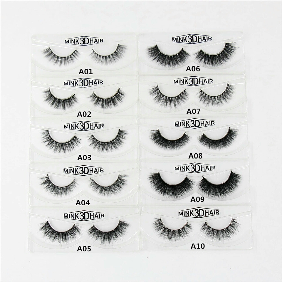 50 Pairs Fake Eyelashes Mink Hair Naturally Pure Handmade Cross Slim Thick Eye Lashes Cotton Stems
