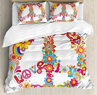Duvet Cover Set Peace Sign Colorful Flowers Rainbows Love and Joy Festive Composition, 4 Piece Bedding Set