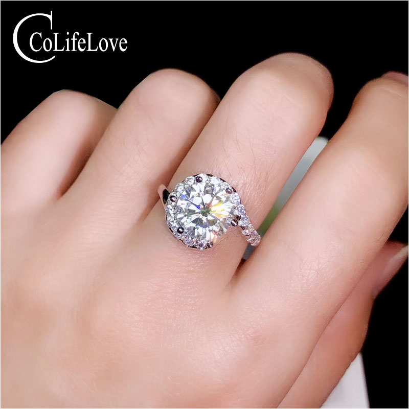 CoLife Jewelry 1ct To 3ct Moissanite Silver Engagement  Ring Fashion Wedding Ring with Moissanite 925 Silver Moissanite JewelryCoLife Jewelry 1ct To 3ct Moissanite Silver Engagement  Ring Fashion Wedding Ring with Moissanite 925 Silver Moissanite Jewelry