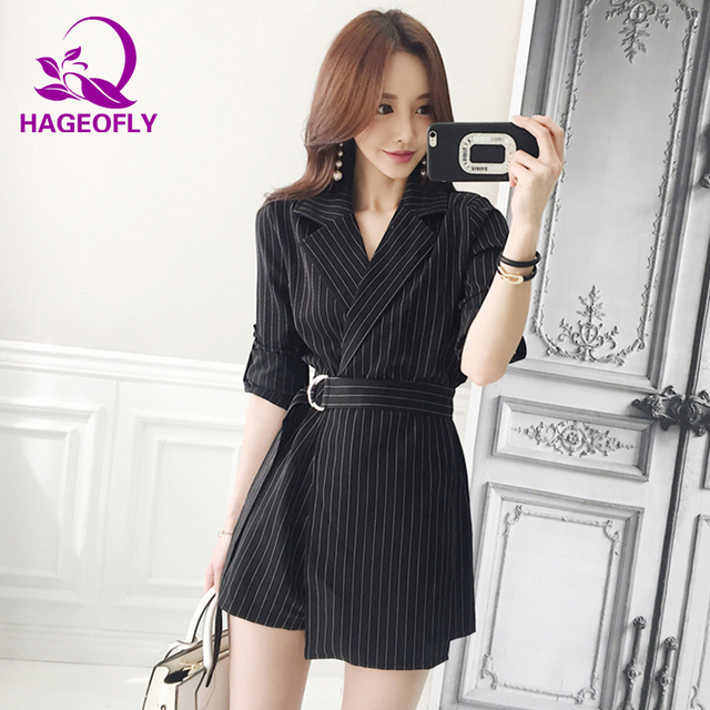 c541b85e891 HAGEOFLY Autumn Korean Playsuits 2018 Office Ladies Black Striped Lace Up  Straight Women s Playsuits Fashion Work