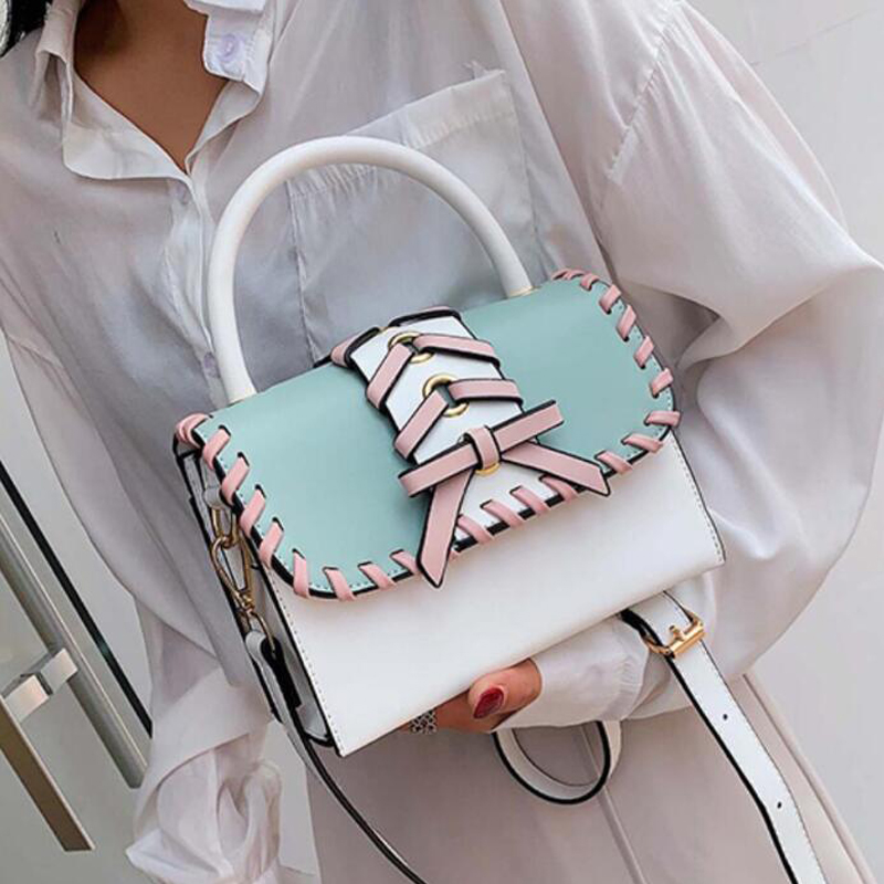 Elegant Female Travel Tote Bag 2019 Fashion New Quality Leather Women's Designer Handbag Contrast color Shoulder Messenger Bags(China)