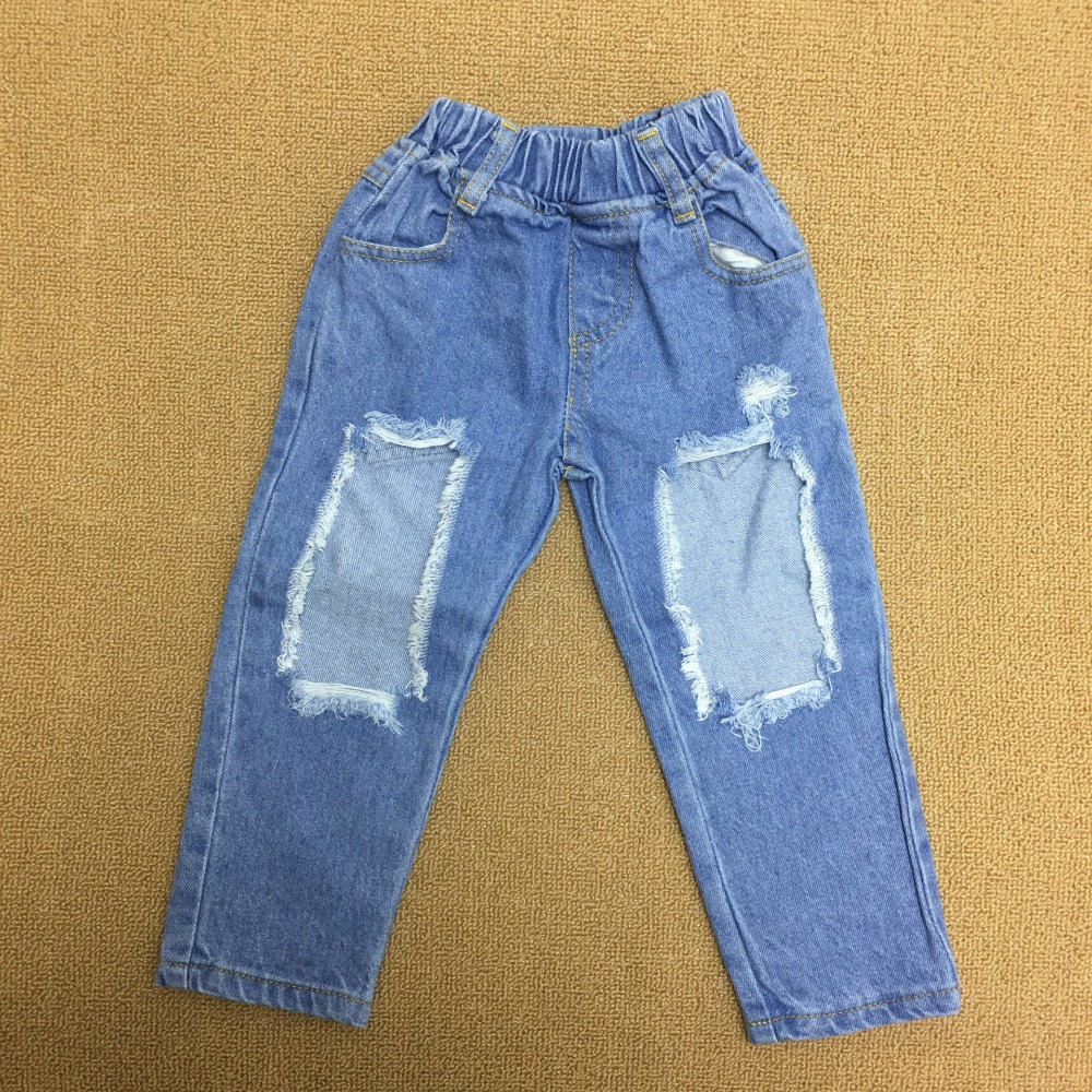 Three Pieces Babies Cotton Jumper Tops with Hallow Out Denim Pants 2018 Baby Girl Clothes Kids Summer Fashion Outfits Girls Sets