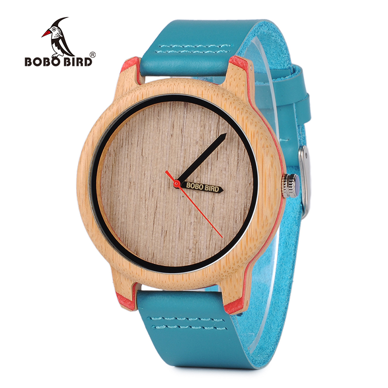 BOBO BIRD Wood Watch Ladies Wristwatch Logo Pointer With Leather Band Relogio Feminino J-P27