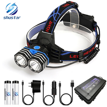 цены LED Headlamp 2 x T6 LED waterproof led headlight 4 lighting modes fishing light lamp camping head lamp + 2x18650 battery