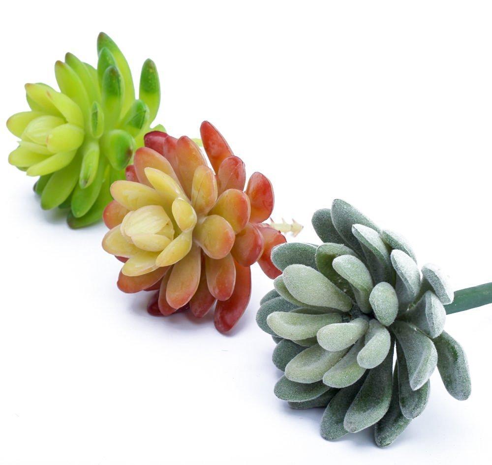 Mkono 3pcs Artificial Succulents Faux Plants Fake Flower Arrangement for Home Wedding Office Decoration