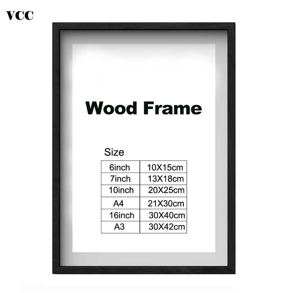 Nature Wooden Classic Photo Picture Frame A4 A3 Black White Coffee Wood Color Certificate Frame with Mats for Wall Poster Frame