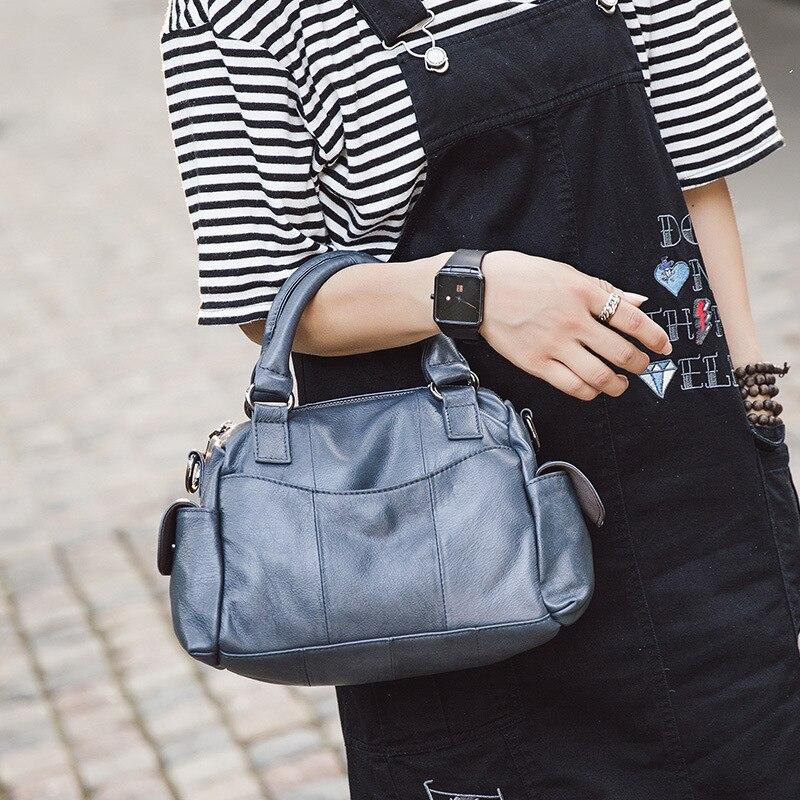 Pyaterochka Brand Fashion Women Vintage Handbag Leather Patchwork Small Boston Shoulder Crossbody Bag High Quality Messenger Bag