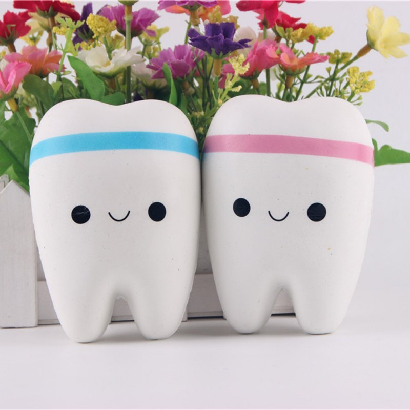CuteNovelty Toy Squishy Tooth Slow Rising Kawaii 11cm Soft Squeeze Cute Cell Phone Strap Toys Kids Baby Gift Random Color