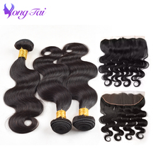 YuYongtai Hair Brazilian Body wave hair lace frontal with 3 Bundles natural Color Ear To Ear lace Frontal Human Hair Extension