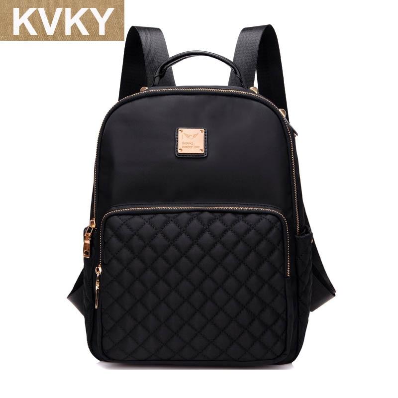 KVKY Women Backpacks Waterproof Nylon Student School Bags Girl Grid Backpacks Female Casual Travel Bag Ladies