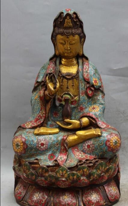 bi002773 18 Chinese Cloisonne Gold Gilt Lotus Kwan-yin God Shakyamuni Buddha Vase Statuebi002773 18 Chinese Cloisonne Gold Gilt Lotus Kwan-yin God Shakyamuni Buddha Vase Statue