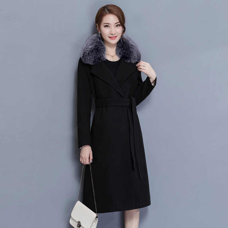 Kmetram 2017 الجديدة معطف الشتاء النساء الفراء طوق كبير الصوف معطف الشتاء معاطف طويلة hiver manteau فام HH407