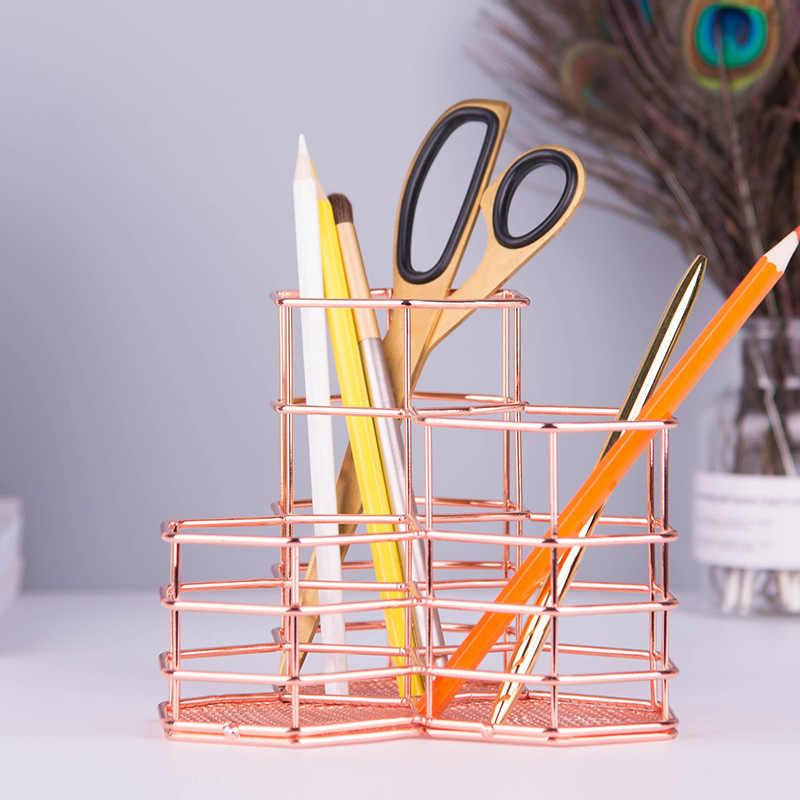 Hexágono combinação caneta titular de Ouro tubo de armazenamento de ferro forjado cesta de armazenamento de detritos de mesa acessórios de escritório Caneta Titulares