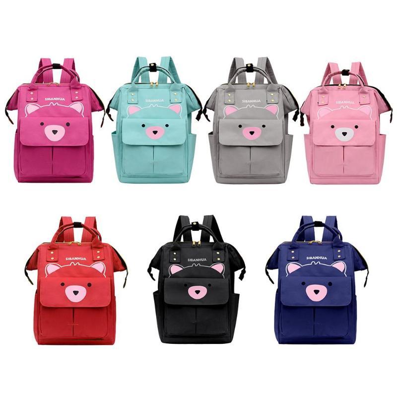 Cute Bear Print Mommy Diaper Bags Travel Backpacks Large Capacity Nylon Maternity Nappy Top-handle Bags Nursing Diaper Packs