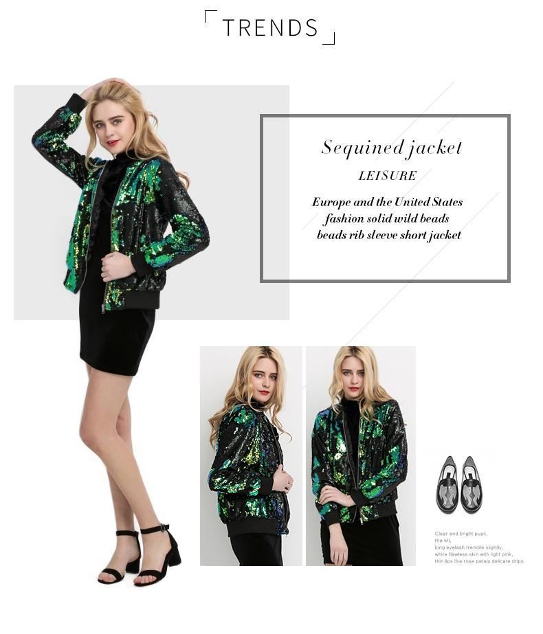 HYH HAOYIHUI Jesień Kobiety Cekiny Płaszcz Zielony Bomber Jacket Kurtka Z Długim Rękawem Zipper Streetwear Preppy Luźne Dorywczo Podstawowe Płaszcz 6