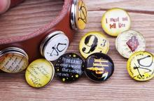 ФОТО jack88 new mixed style 100pcs/lot hp snaps 18 mm glass snap button fit ginger snap charm bracelet  snap button jewelry n898
