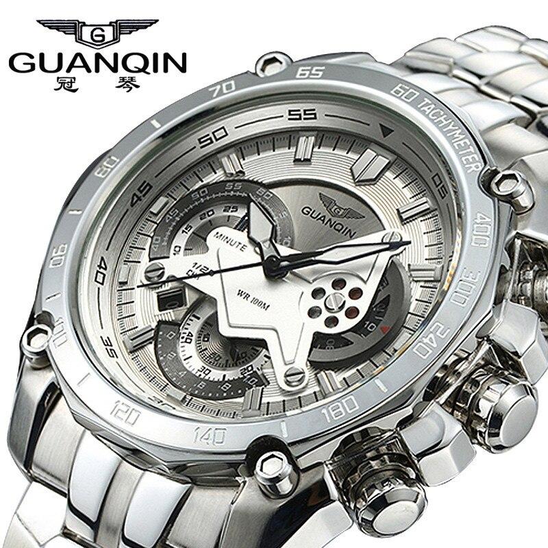 GUANQIN LUXURY Men Business Top Brand Silver Steel Quartz font b Watch b font Chronograph Luminous